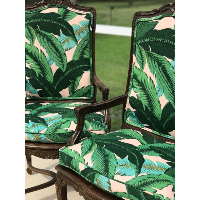 Vintage Coastal Regency Custom Upholstered French Carved Chairs-A Pair For Sale - Image 12 of 13