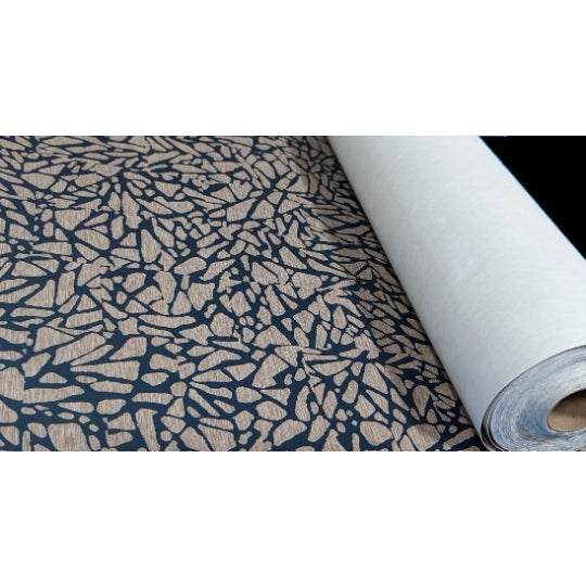 Abstract Blue and Beige Organic Mosaic Pattern Wallcovering For Sale - Image 3 of 3