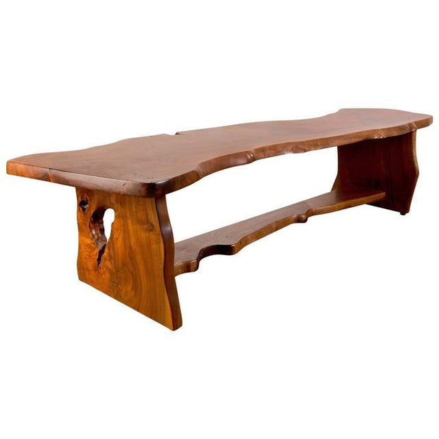 Handcrafted Redwood Slab Bench For Sale - Image 5 of 5