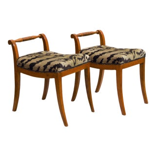 Pair of Swedish Karl Johan (Biedermeier) Revival Bench Stools For Sale