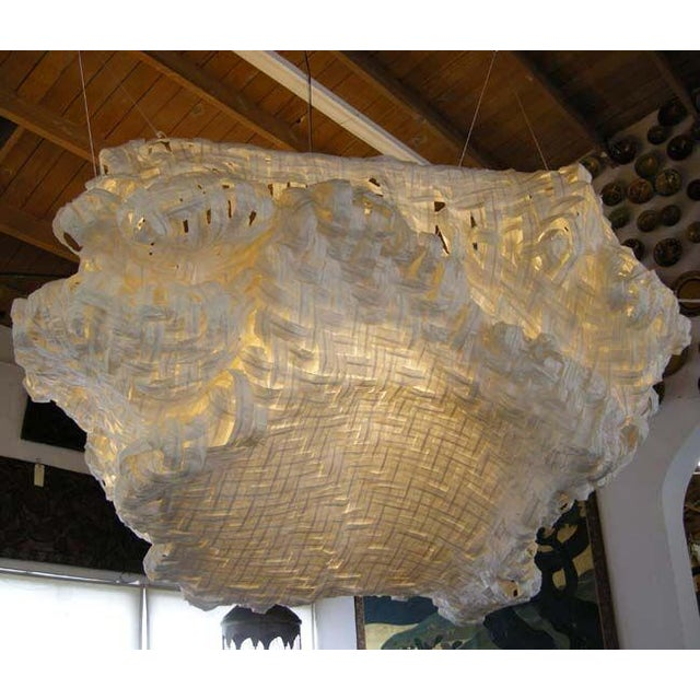 Gigantic Freeform Handwoven Paper Ceiling Light - Image 2 of 7