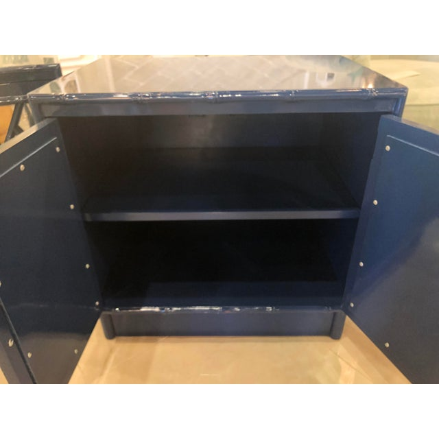 Vintage Chinese Chippendale Navy Lacquered Mirror Lucite Brass Nightstands Chests -A Pair For Sale - Image 4 of 13