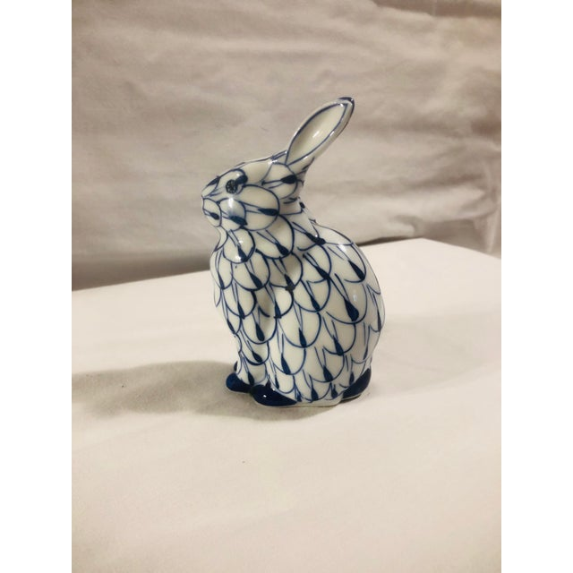 Love this fishnet pattern blue and white bunny. Marked hand painted, Andrea by Sadek.