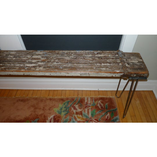 Industrial Sofa Table, Console, Entryway Table From Industrial Painter's Scaffold on Steel Hairpin Legs For Sale - Image 3 of 11