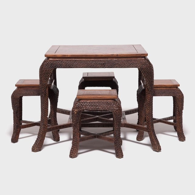 Early 20th Century Dragon Scale Tea Table and Stools For Sale - Image 11 of 11