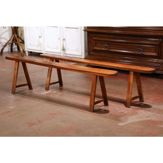Pair of 19th Century French Provincial Carved Cherry Wood Trestle Benches For Sale - Image 10 of 10