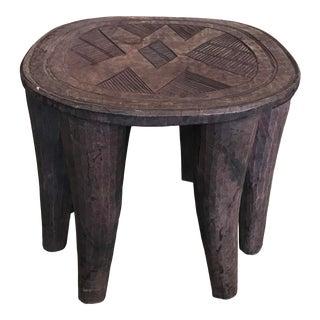 Vintage African Carved Wood Side Table For Sale