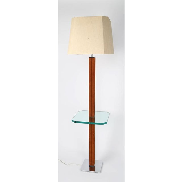 Mid-Century Modern KARL SPRINGER CHROME, SUEDE AND GLASS LAMP TABLE For Sale - Image 3 of 7