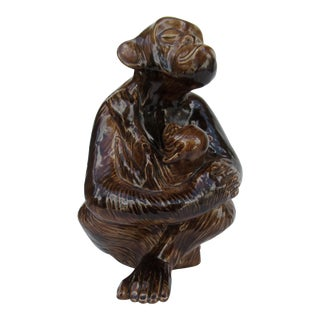 C1970s Vintage Ceramic Brown Glazed Monkey With Baby Monkey in Tow For Sale