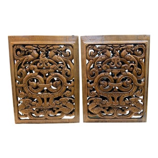 Antique Chinese Carved Wooden Panels - a Pair For Sale