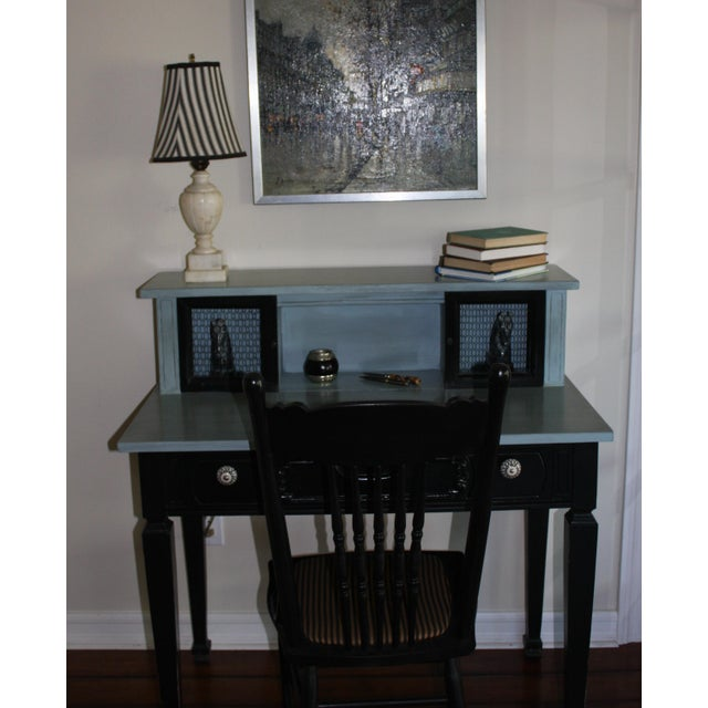 This adorable writing desk was transformed from a high glossy black finish to a custom satin finished black paint on the...