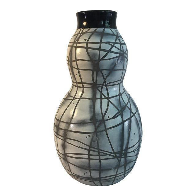Contemporary Black & White Patterned Vase - Image 1 of 5