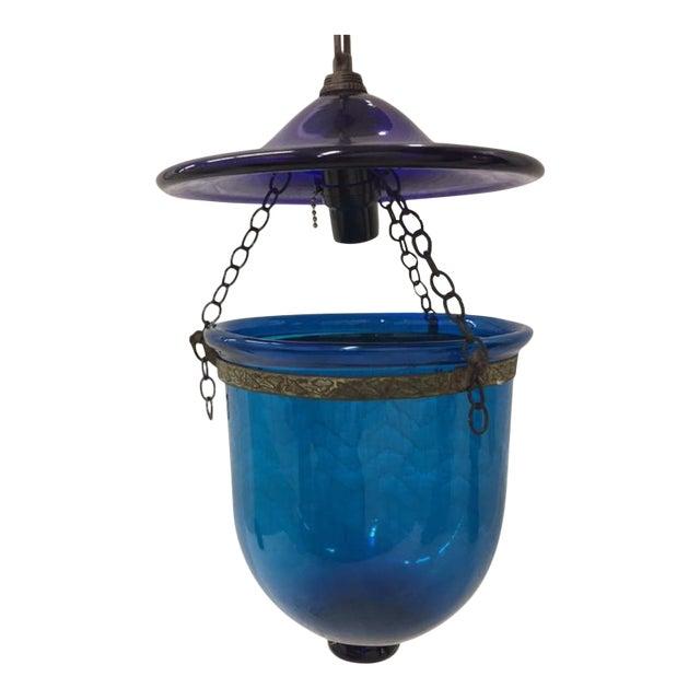 Blue Bell Jar Pendant For Sale
