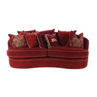 "Modern Michael Thomas Red ""Princess Wine"" Corduroy Kidney-Shaped Sofa For Sale"