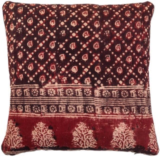 Antique Indian Resist Dyed Pillow For Sale