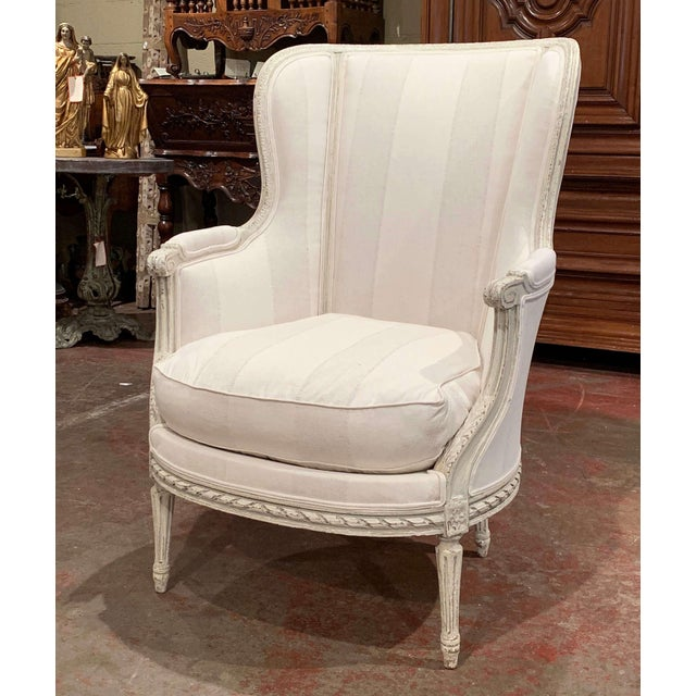 19th Century Louis XVI Carved Painted Bergere Armchair For Sale - Image 13 of 13