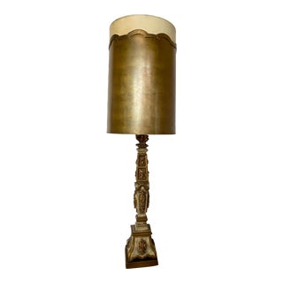 Vintage Mid 20th Century Distressed Gold Leaf Floor Lamp For Sale