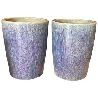 Chinese Multi-Glazed Blue Tall Planters-a Pair For Sale