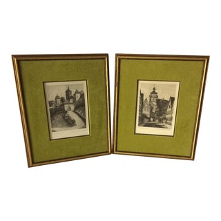 "Two Signed 1960's Etchings By Ernest Geissendorfer ""Rothenburg Tower and Bridge"" Rothenburg, Germany For Sale"