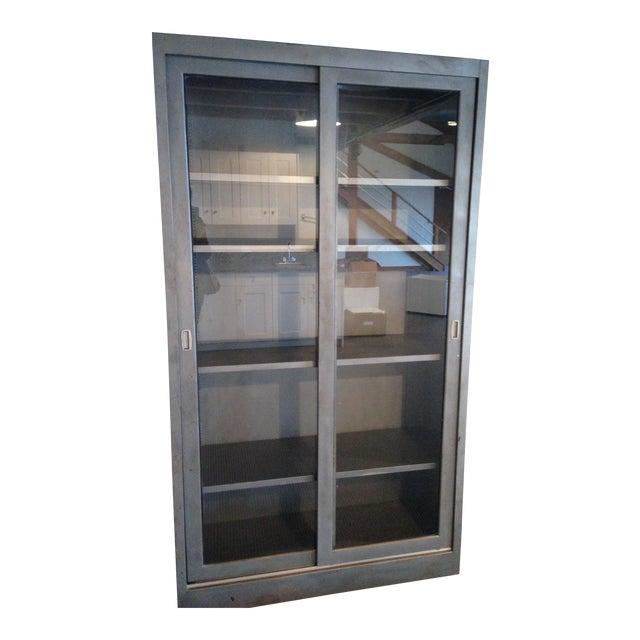 Vintage Industrial Metal Display Cabinet For Sale