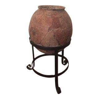 Ancient Pottery Jar on Stand For Sale