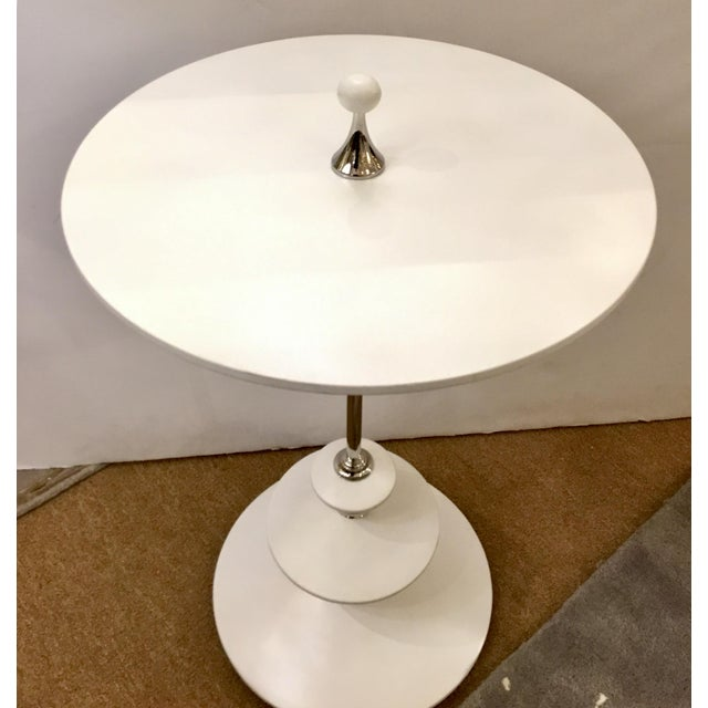 Caracole White and Chrome Modern Caracole Side Table For Sale - Image 4 of 5