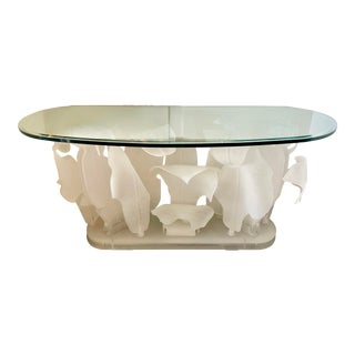 Lucite Palm Leaves Console Table/Lighted For Sale