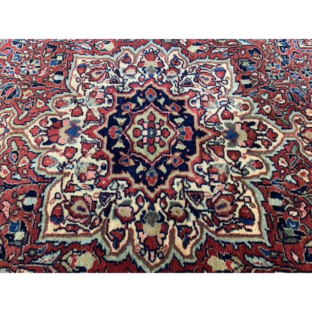 "Textile 1930s Antique Persian Sarouk Rug- 3'3"" X 4'10"" For Sale - Image 7 of 10"