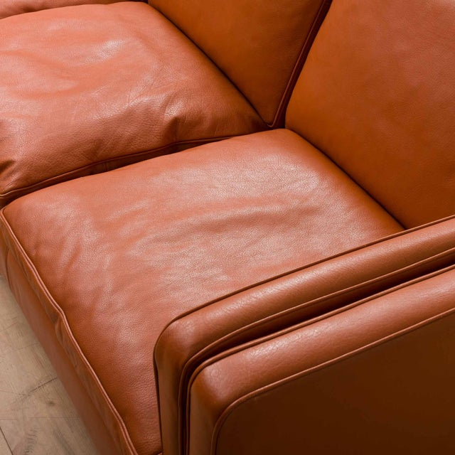 Orange 1970s Vintage Stouby Cognac Leather 3 Seat Sofa For Sale - Image 8 of 12