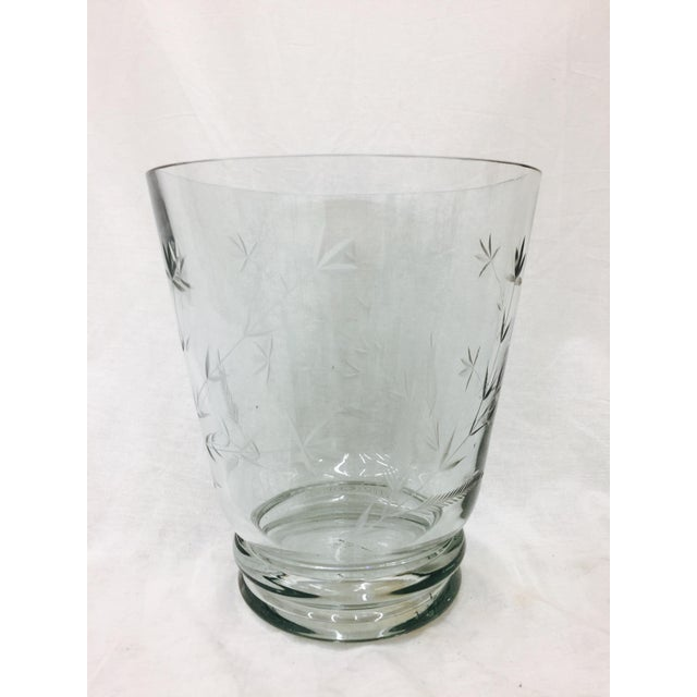 Asian Large Etched Glass Vase For Sale - Image 3 of 10