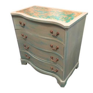 Aged Copper Top 4 Drawer Chest For Sale