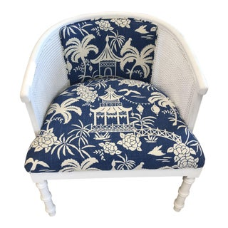 Faux Bamboo Chair With Cane Back Reupholstered With Chinoiserie Fabric For Sale