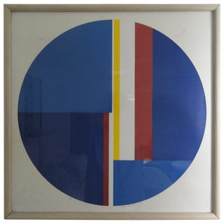 """""""Untitled"""" Blue Tondo Screenprint Signed and Numbered by Ilya Blotowsky For Sale"""