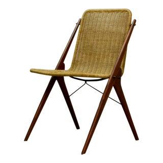 Dutch Design Wicker and Teak Wood Side Chair in Style of Dirk van Sliedregt, 1950s For Sale
