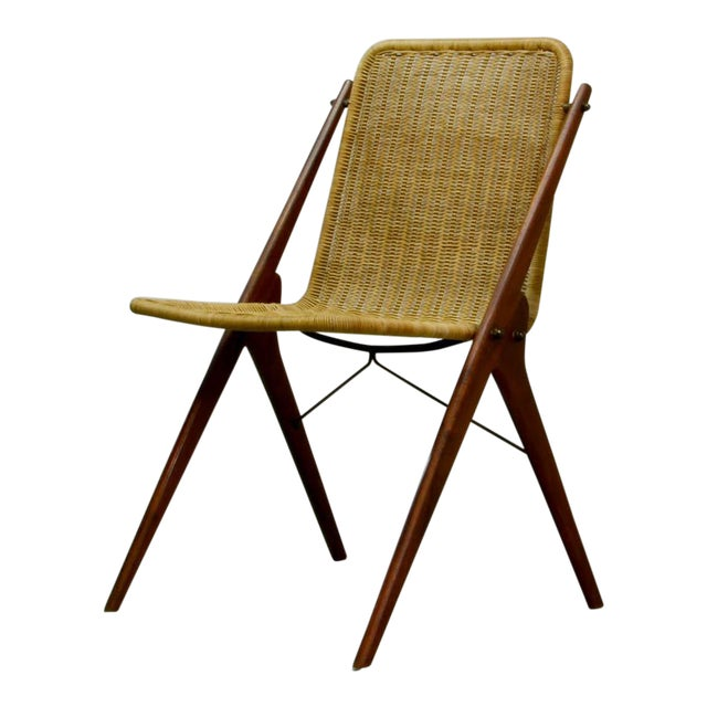 Dutch Design Wicker and Teak Wood Side Chair in Style of Dirk van Sliedregt, 1950s For Sale