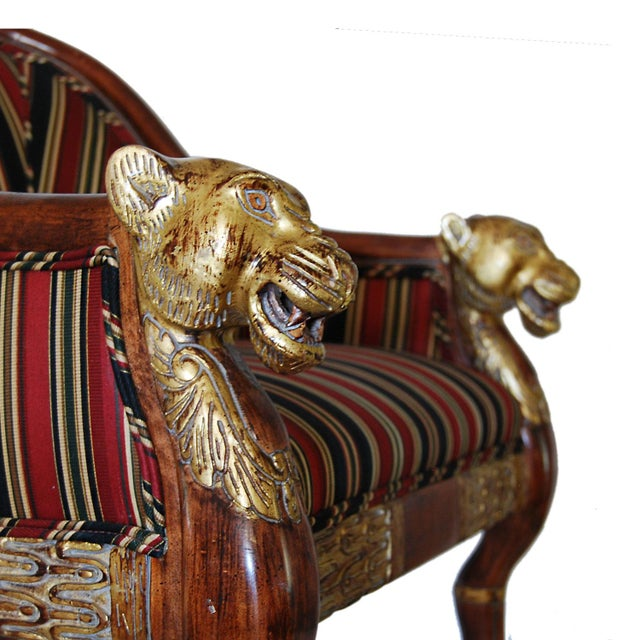 Hollywood Regency Gilded Lion's Head Chairs - Pair For Sale - Image 10 of 10