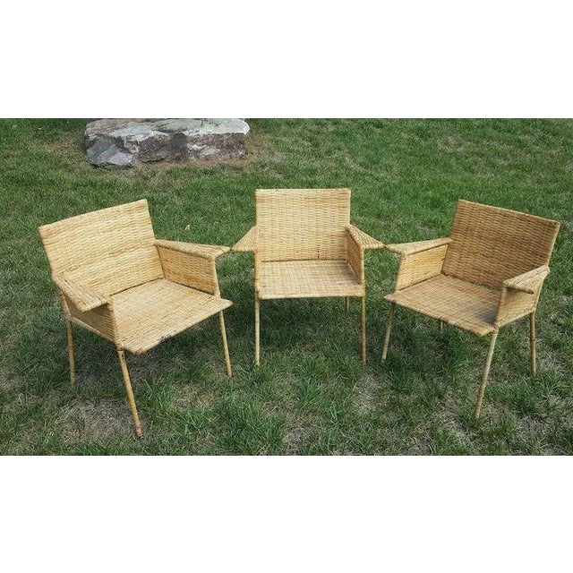 1950s Van Keppel and Green Wicker and Wrought Iron Chairs - Set of 3 For Sale - Image 5 of 11
