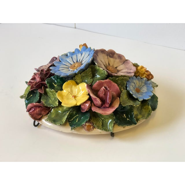 Floral Polychrome Ceramic Capodimonte Sculpture For Sale - Image 10 of 13