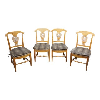 French Country Rustic Pine Leopard & Rush Seat Farmhouse Side Dining Chairs - Set of 4 For Sale