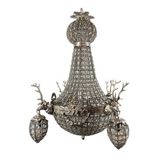 French Roccoco Chandelier Decorated With Deerhead in Silver Frame For Sale