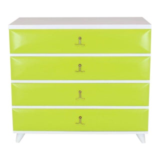 Lime Green White Lacquer Two-Tone Bachelor Chest Dresser Solid Mahogany Brass