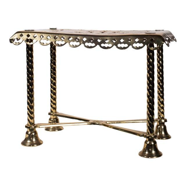 19th Century Antique Brass Fireplace Rectangular Kettle Trivet W/ Crossbars, Bell Shaped Feet, Pierced Top & Sides For Sale