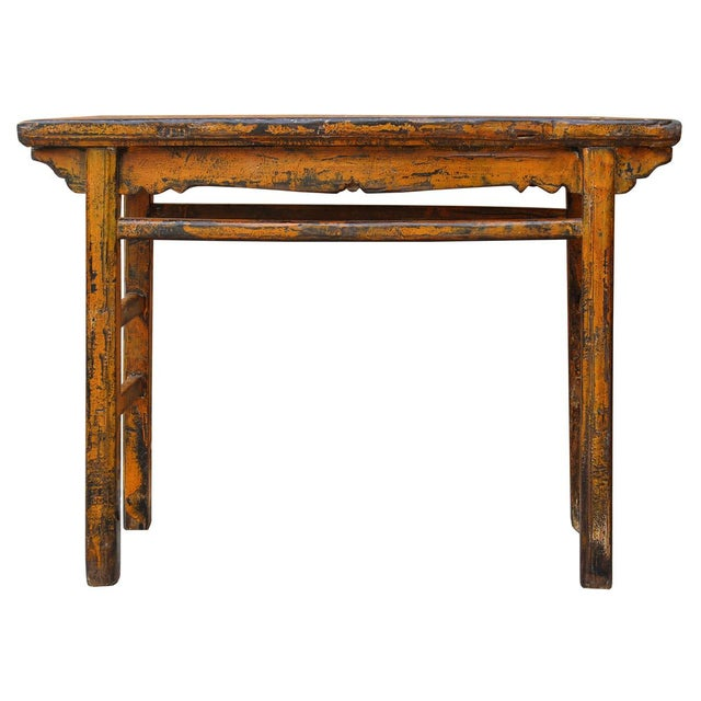 Distressed Orange Chinese Rustic Table - Image 1 of 7