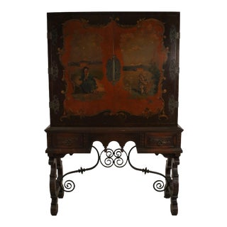 English Renaissance Style Pictorial Mahogany and Iron Highboy Cabinet For Sale