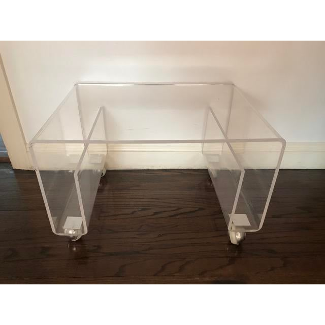 Transparent Lucite Side / Coffee Table With Magazine Rack on Wheels For Sale - Image 8 of 9