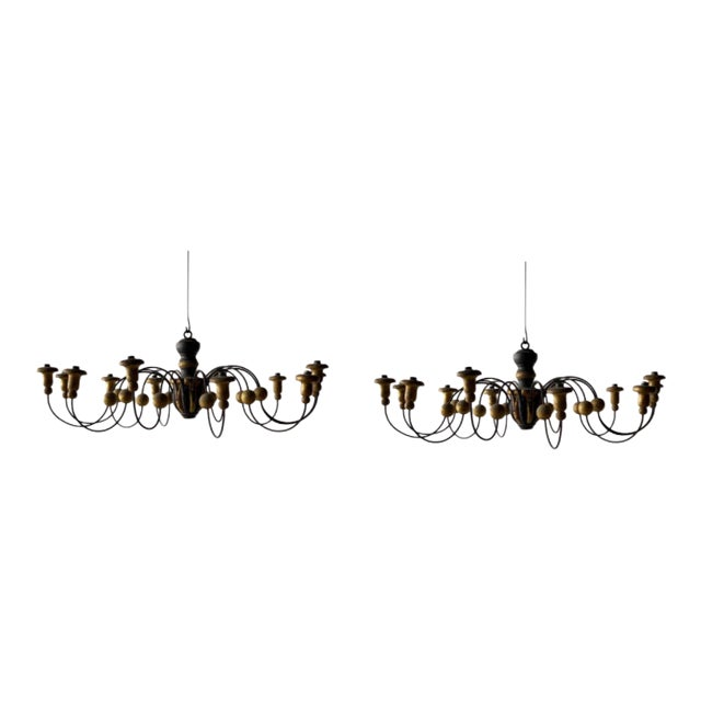 Mid-19th Century Parcel-Gilt Wood and Metal Chandeliers - A Pair For Sale
