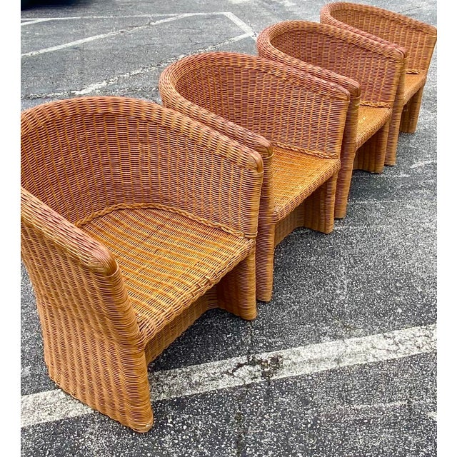 Vintage Boho Chic Rattan Barrel Chairs -Set of 4 For Sale - Image 12 of 13
