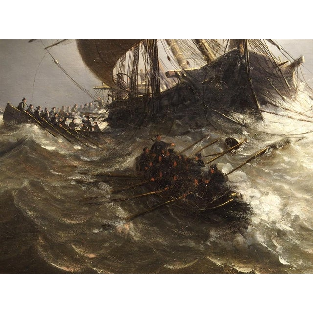 Antique Oil on Canvas Marine Painting From Normandy France, 1883 For Sale - Image 11 of 13