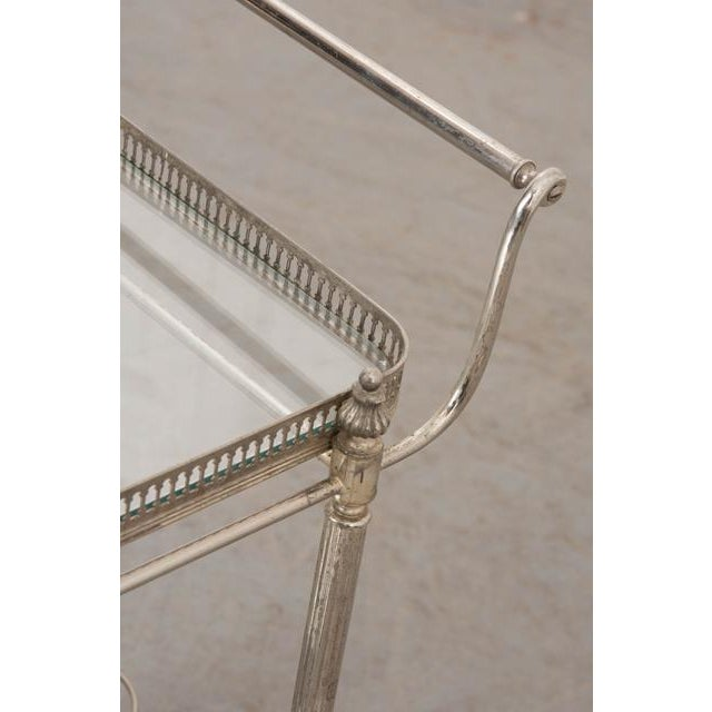 French Vintage Silver Bar Cart For Sale - Image 10 of 13