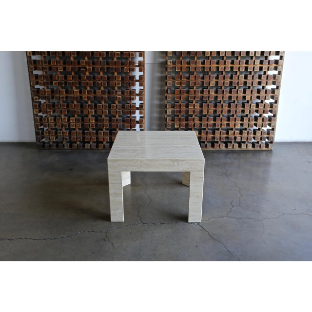 Vintage Travertine Side Table Circa 1980 For Sale - Image 9 of 13
